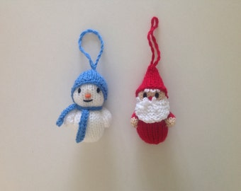 Father Christmas and Snowman Knitted Christmas Decorations