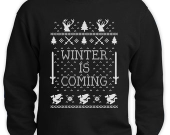 Winter is Coming Christmas Ugly sweater - mens Crewneck Sweatshirt