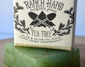 Ranch Hand Aloe and Olive Oil Tea Tree Soap with Dried Peppermint, Sulfate Free Essential Oil