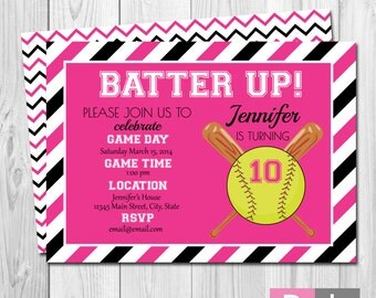 Softball Birthday Party Invitation - Batter Up - Pink and Black Stripes - BACKSIDE INCLUDED - DIY - Printable