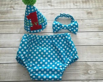 Polka Dot Baby Boy Cake Smash Set First Birthday Outfit