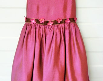 Vintage Girls Dress, Dark Rose Satin Dress, Girls Holiday Dress Size 6. # #