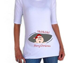 Christmas Maternity shirt  - peek a boo santa baby  maternity shirt - Funny maternity shirt for Christmas