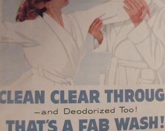FAB LAUNDRY DETERGENT Original Vintage Magazine Ad Washing Machine Soap Laundry Room Decor Additional Ads Ship Free Ready To Frame