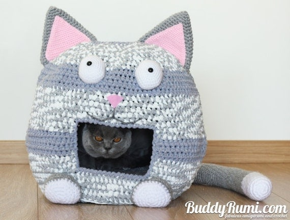 Free Crochet Patterns For Cat Houses : PATTERN: Kitty Kat House Crochet Cat Bed Cave Pattern by ...