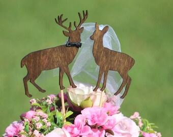 Deer Cake Topper -  Beach wedding - Bride and Groom - Rustic Country Chic Wedding