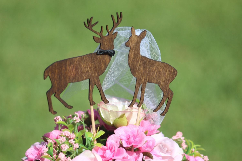 Deer Cake Topper Beach wedding Bride and Groom Rustic