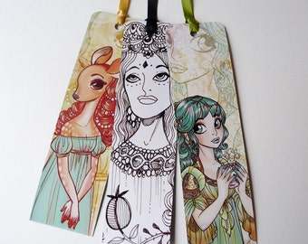 Dames - three illustrated paper bookmarks, print