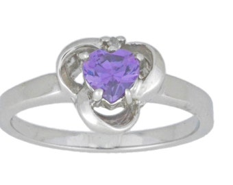0.50 Ct Amethyst & Diamond Heart Ring .925 Sterling Silver Rhodium Finish