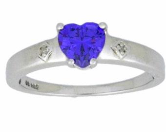 1 Ct Amethyst & Diamond Heart Ring .925 Sterling Silver Rhodium Finish