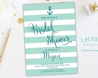 Nautical Bridal Shower Invitation, Anchor Bridal Shower Invite, Stripe Invitation, DIY Printable