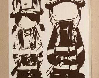 Firefighter Sign, Firefighter Wedding, Distressed Wall Decor,  Firefighter Couple Sign, Firefighter - Cutie Firefighter Couple by Yu Yu Art