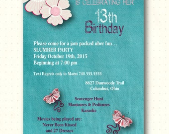 Tween Birthday Party Invitation, teen, slumber party, sleepover, girl, turquoise, pink, kids, teenage, digital, printable, invite, T1406