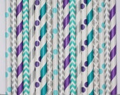 50  Frozen #2 Paper Straw Mix  PAPER STRAWS birthday party event cake pop sticks silver purple teal aqua