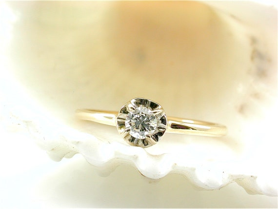 Simple Diamond Flower Engagement Ring Small Stacking by JewelLuxe