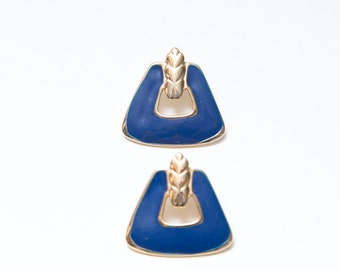 Vintage Blue and Gold Post Earrings, Vintage Enamel Blue and Gold Post Earrings