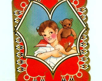 Vintage Boy in Sailor Suit with Teddy Bear Metallic Gold Die-Cut Valentine's Day Card Made In USA 1930s