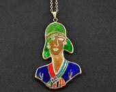 Art Noveau necklace, Art Deco pendant, 60' Vintage clothes, 1960s woman, Sixties stylish female, Bronze pendant, Glass enamel, Green charm