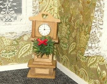 Miniature dollhouse vintage Christmas grandfather clock