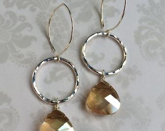 Sara~Swarovski Crystal & Sterling Silver Hand Forged Earrings