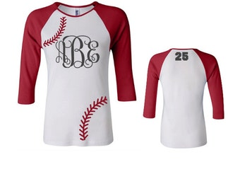Monogram Baseball Shirt, Monogram Softball Shirt, Raglan Baseball Shirt, 3/4 sleeve