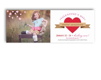 Valentine's Day Mini Session Facebook Template - POLKA DOTS - 1224