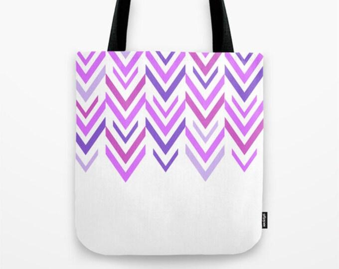 Purple Arrow Tote Bag - Book Bag - Grocery Bag - Beach Bag - ZigZag Purple Tote Bag -  Made to Order