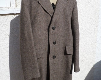1960s Vintage mens Wool Tweed long jacket