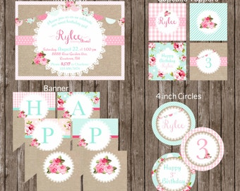 Shabby Chic Printable FULL Package/Roses/Rustic/Lace/Pink/Birthday/Girl/Collection/Cupcake Toppers/Invitation/Banner by Marbella Printables