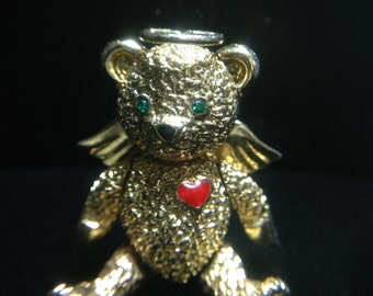 Vintage Articulated Bear Pin by BATYA (WhtD3)