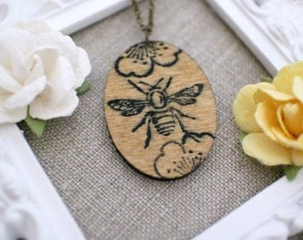 Wooden Bee Necklace