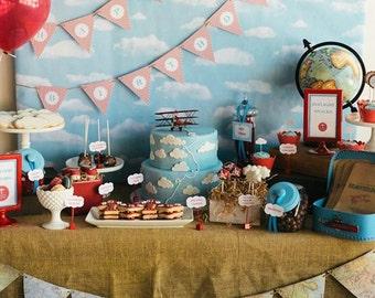 Vintage Airplane Happy Birthday Banner- Birthday Party, Baby Shower