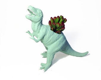 Up-cycled Sea Glass T-Rex Dinosaur Planter
