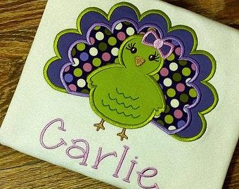Thanksgiving Turkey Applique Shirt Bodysuit Onesie Girl Toddler