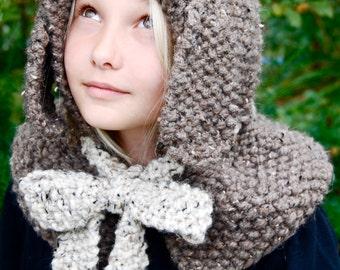 Hand-Knit Children's Bunny Hood, Warm, Cozy, Outerwear