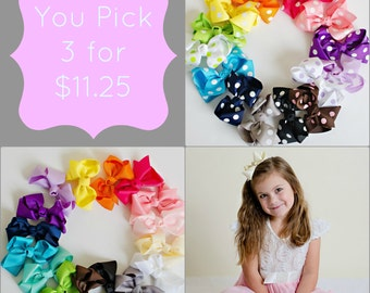 Toddler Hair Bows.Hair Bows.Hairbows.Baby Bows.Girl Hair Bows.Baby Girl Hair Bows.Boutique Hair Bow.Baby Hair Bows.Baby Bows.You Pick 3