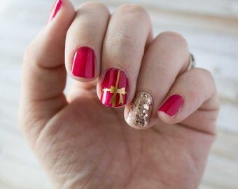 Holiday Present Ribbon Nail Stickers / Decals