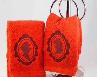"""Two (2) Super Mario Bros. """"His and Her"""" Inspired - Embroidered Hand Towels"""