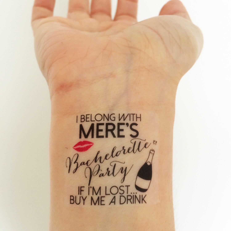15 custom bachelorette party temporary tattoos champagne for Custom temp tattoos