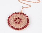 FREE SHIPPING 14K Rose gold filled and red  Swarovski crystals crochet pendant necklace