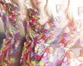 Vintage Psychedelic Technicolor Marie Antoinette NOVELTY PRINT Ruffle V Neck Blouse Circa 1960s by Beatrice Pince
