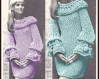 KNITTING PATTERN - Vintage Chunky sweater Dress - poet sleeve dress - PDF Instant Download - cowl dress pattern - knitting patterns yarn vtg
