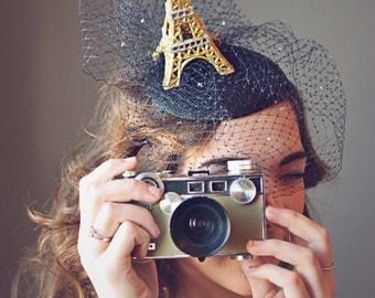 Eiffel Tower, Black Fascinator Hat,  Paris, Derby Hat, Party Hat, Kentucky Derby Hat, Royal Ascot Hat, Conservancy Luncheon Hat, Style F-57