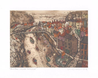 STAITHES NORTH YORKSHIRE, Signed Print from Drypoint, Clare Caulfield, Fishing Village Wall Art, Boats Seaside, Houses Rooftop View England