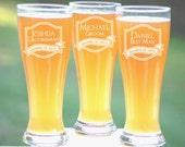 Groomsmen Gift, 4 Personalized Beer Glasses, Custom Engraved Pilsner Glass, Wedding Party Gifts, Gifts for Groomsmen, 16oz Glasses