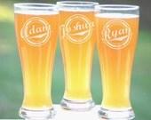 Personalized Groomsmen Gifts, Beer Glasses, Wedding Toasting Glasses, Pint Glasses, 2 Custom Beer Mugs, Gifts for Groomsmen, 16oz Glassware