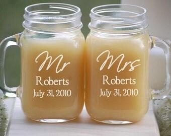 Personalized Wedding Glasses - Mason Jar Barn Wedding Mugs - Mr and Mrs - Custom Engraved Wedding Favors