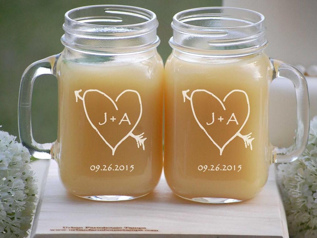 Mason Jar Mugs Wedding Party Heart with Initials Personalized