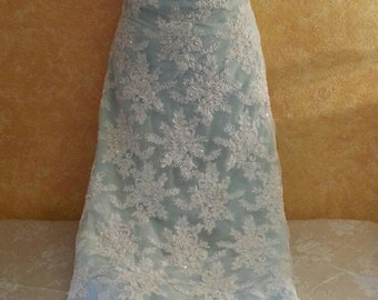 Sampe Gown Listing-Vintage Style Ivory Beaded Sequin Pearl Lace & Powder Blue Sheath Bridal Wedding Gown Party Club Evening - (more colors)