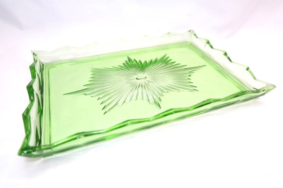 Uranium Glass Vanity Tray Glass Trinket Tray Art Deco Glass